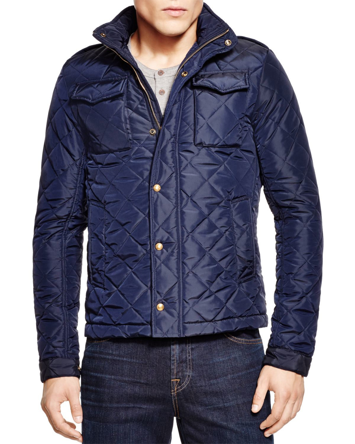 lyst scotch soda nylon quilted oxford jacket in blue. Black Bedroom Furniture Sets. Home Design Ideas