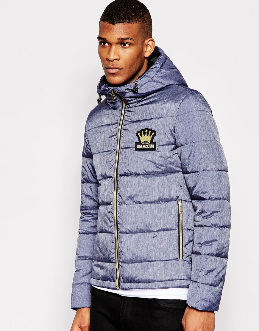 Love moschino Gold Zip Quilted Jacket in Blue for Men | Lyst : gold quilted jacket - Adamdwight.com