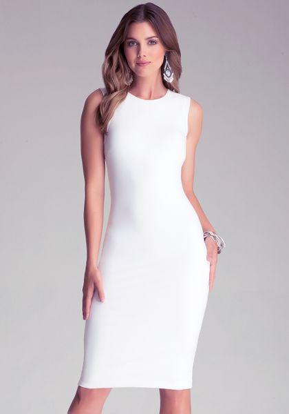 Bebe Bodycon Midi Dress In White Lyst