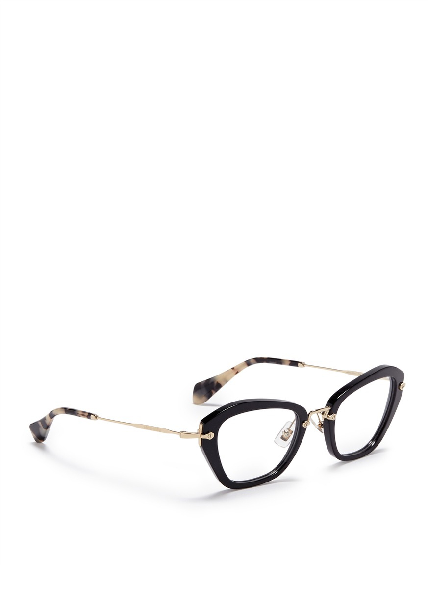 e563dce634e Lyst - Miu Miu  noir  Tortoiseshell Tip Optical Glasses in Black