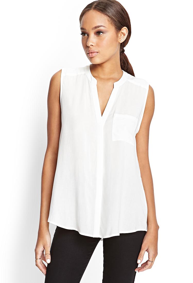 Lyst Forever 21 Sleeveless Mandarin Collar Shirt In White