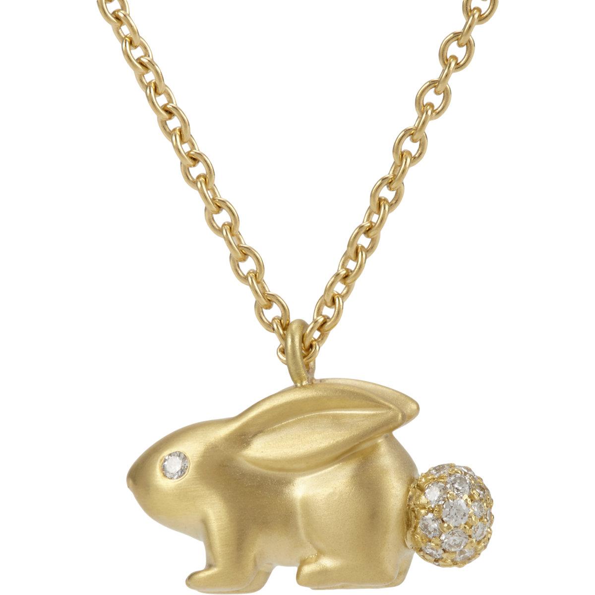 finn gold rabbit pendant necklace in metallic lyst