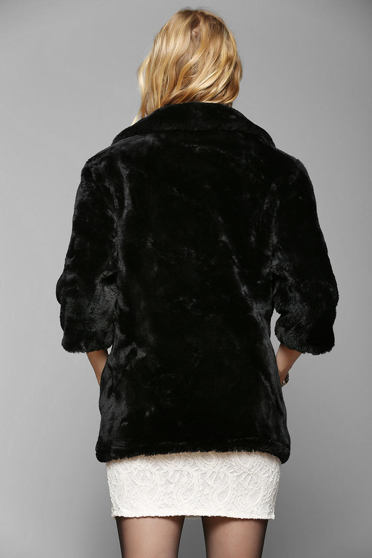 Urban Outfitters Urban Renewal Cropped Faux Fur Coat In