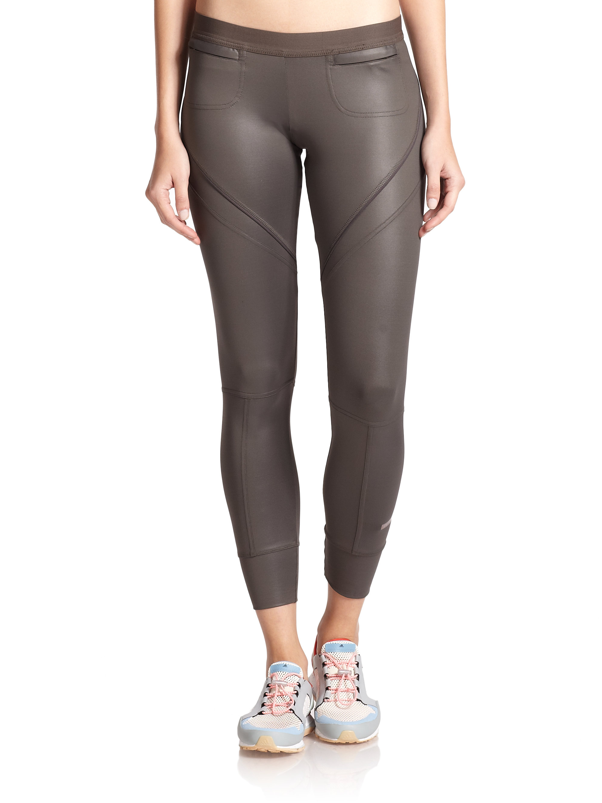 adidas by stella mccartney zip detail performance leggings in gray lyst. Black Bedroom Furniture Sets. Home Design Ideas