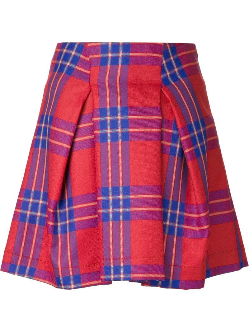 vivienne westwood anglomania trail tartan skirt in blue