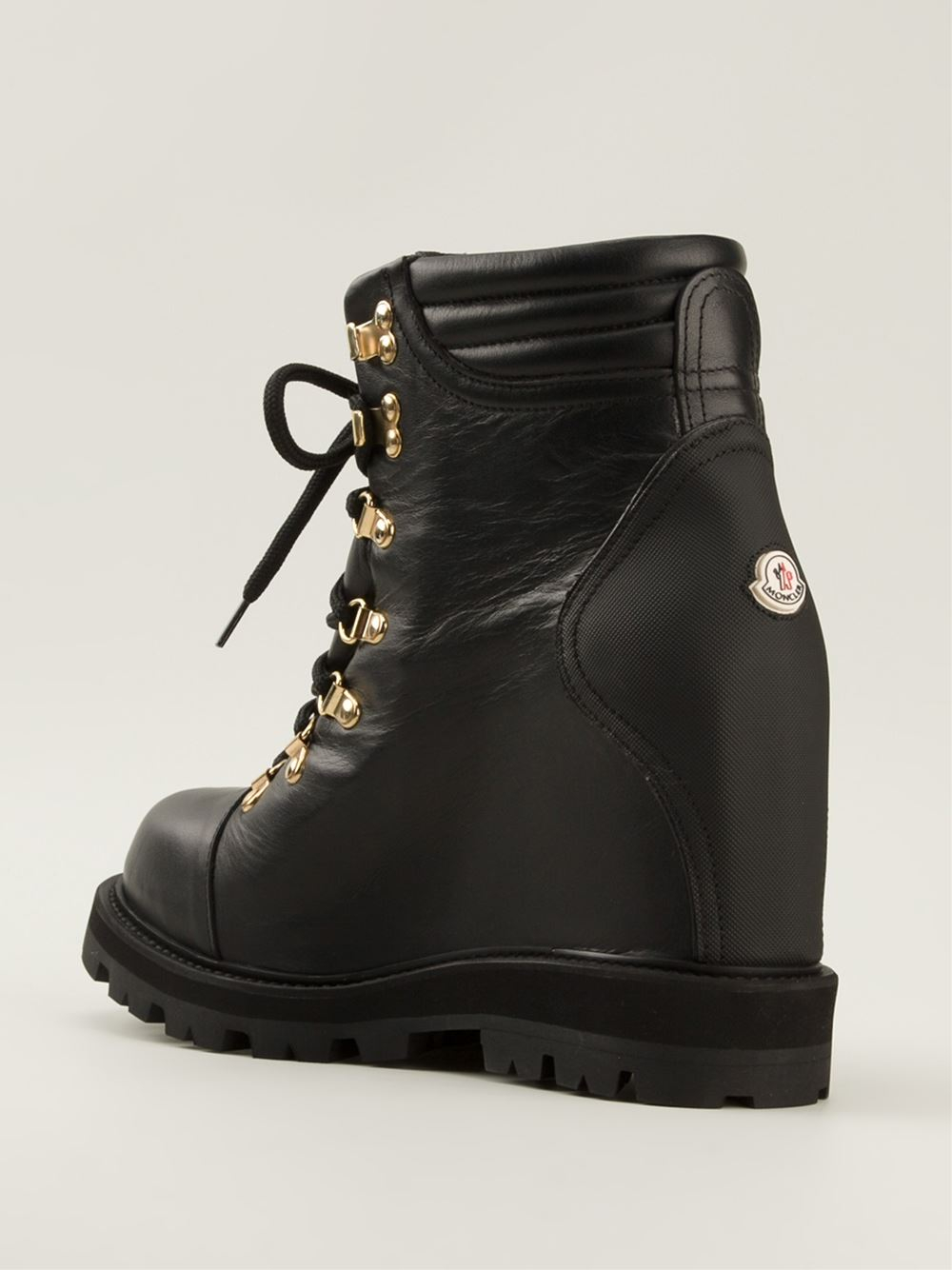 81dc1d4a7520 Lyst - Moncler Concealed Wedge Lace-Up Boots in Black