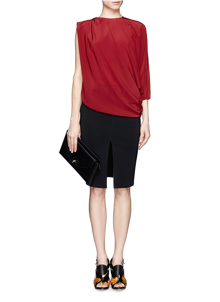 givenchy split front pencil skirt in black lyst