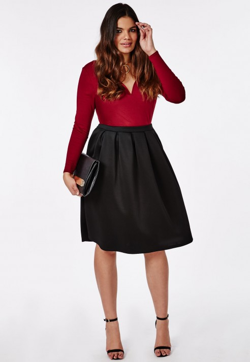 missguided plus size midi skater skirt black in black | lyst