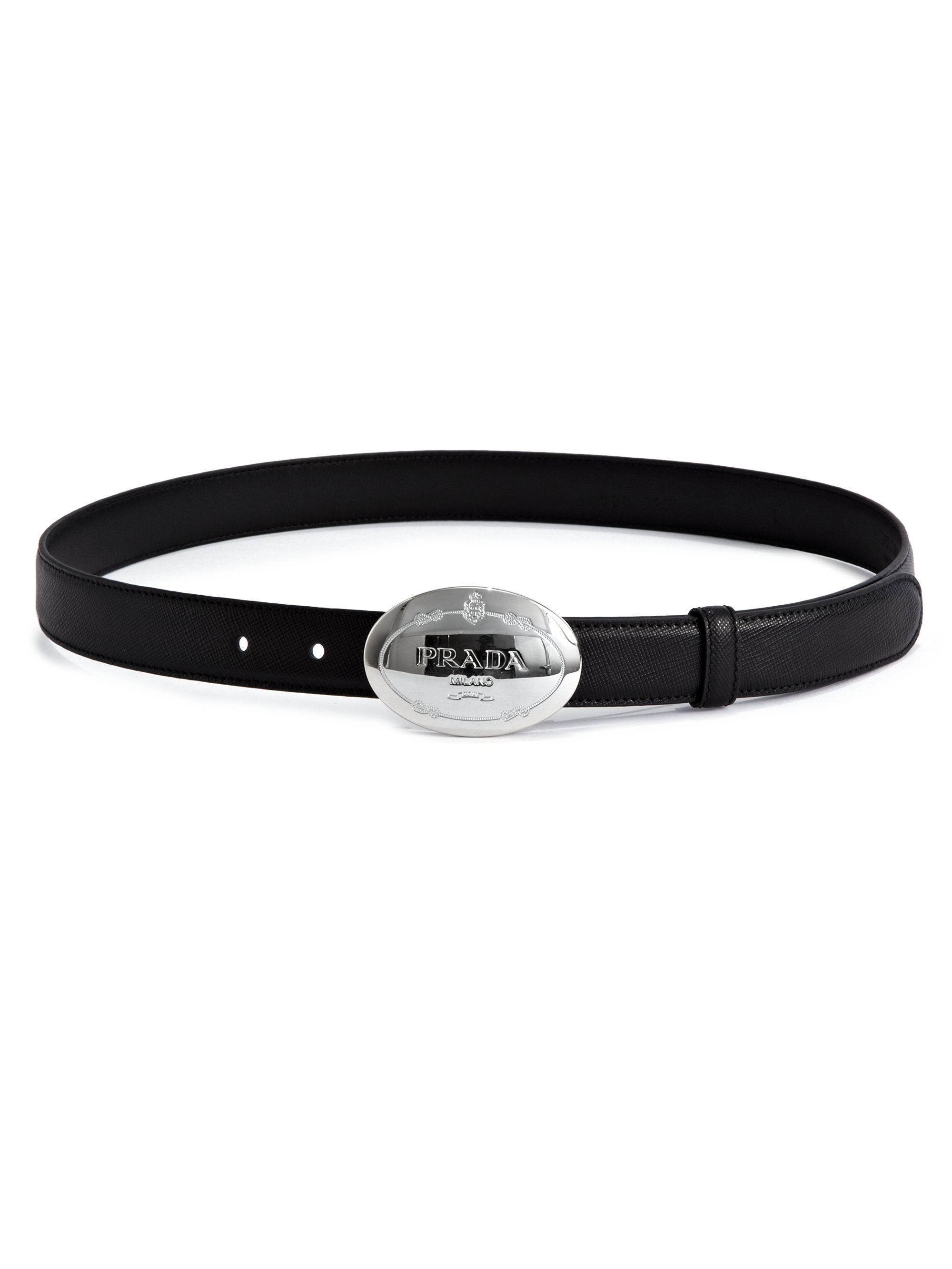 Prada Logo Buckle Saffiano Leather Belt in Black | Lyst