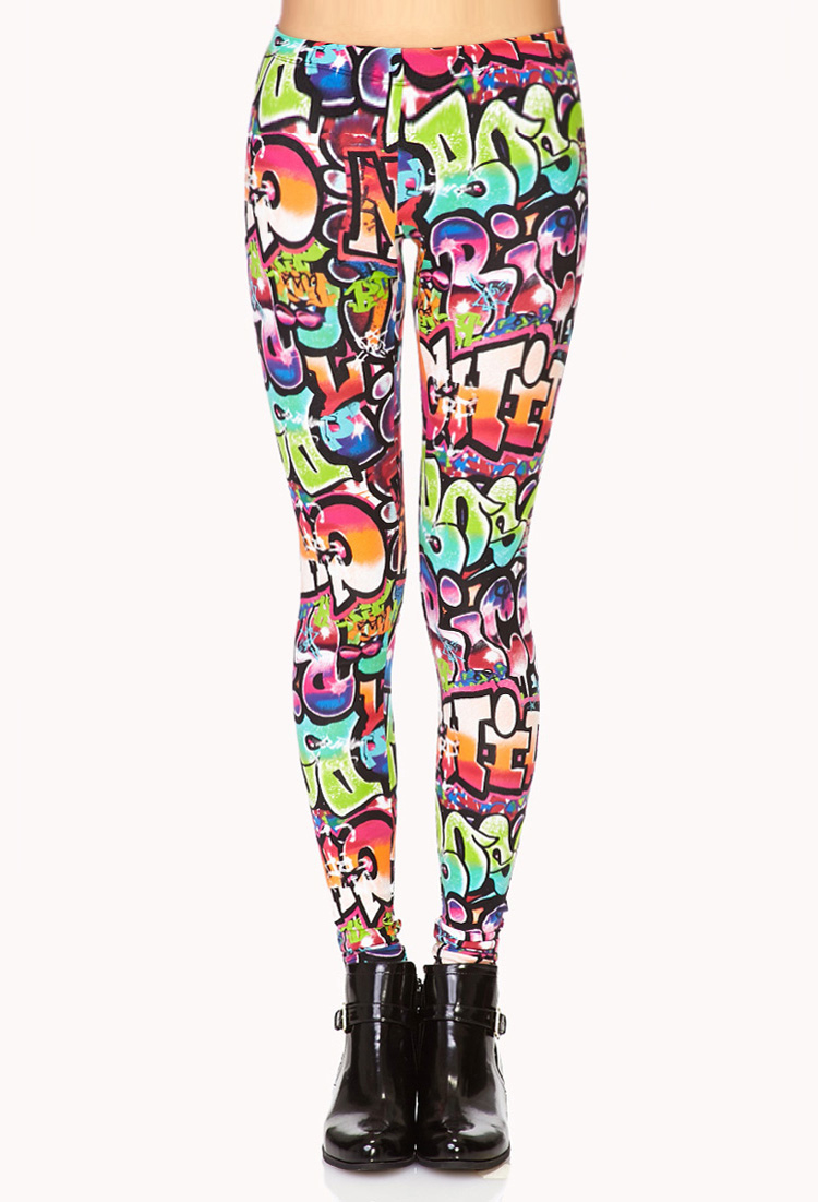21 Cool Nail Art Ideas: Forever 21 Forever Cool Graffiti Leggings