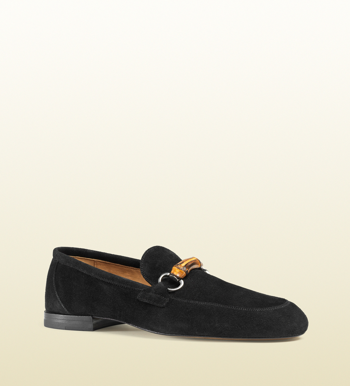 3a0dde62e99 Lyst - Gucci Suede Bamboo Horsebit Loafer in Black for Men