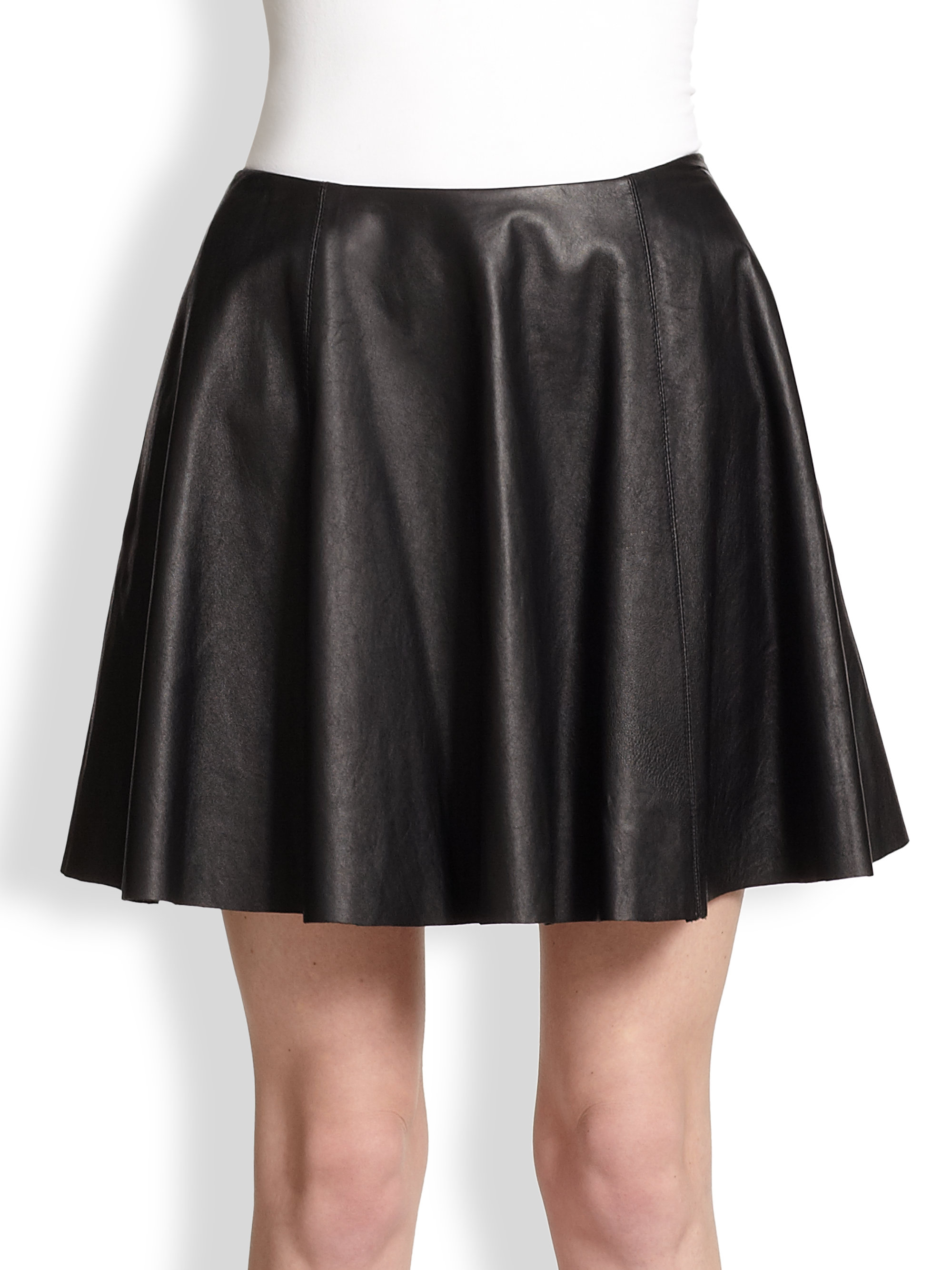 theory merlock pleated leather skirt in black lyst