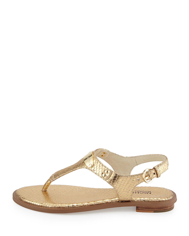 9ec4f11471e9 Lyst - MICHAEL Michael Kors Logo Plate Thong Sandal in Metallic