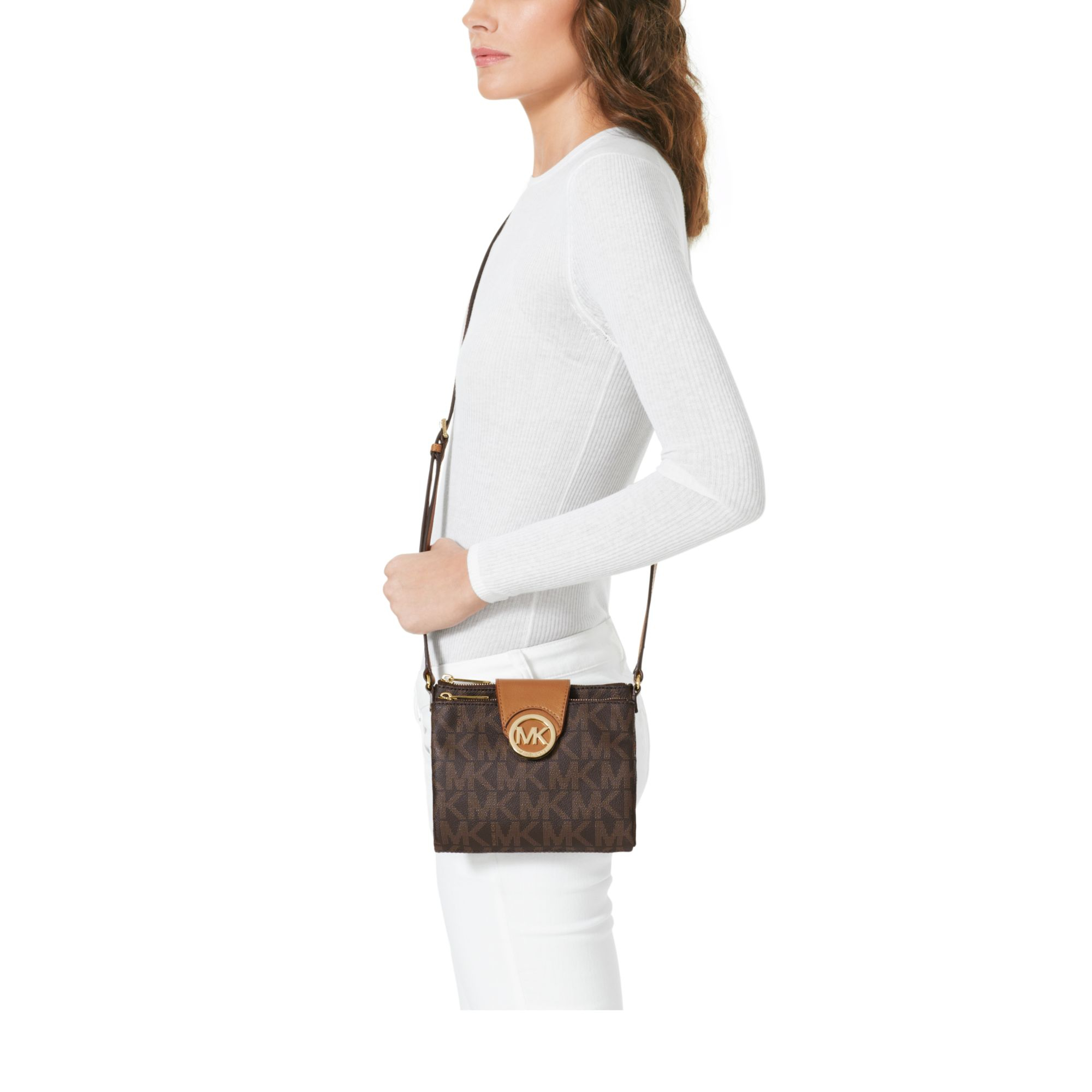 michael kors fulton crossbody brown