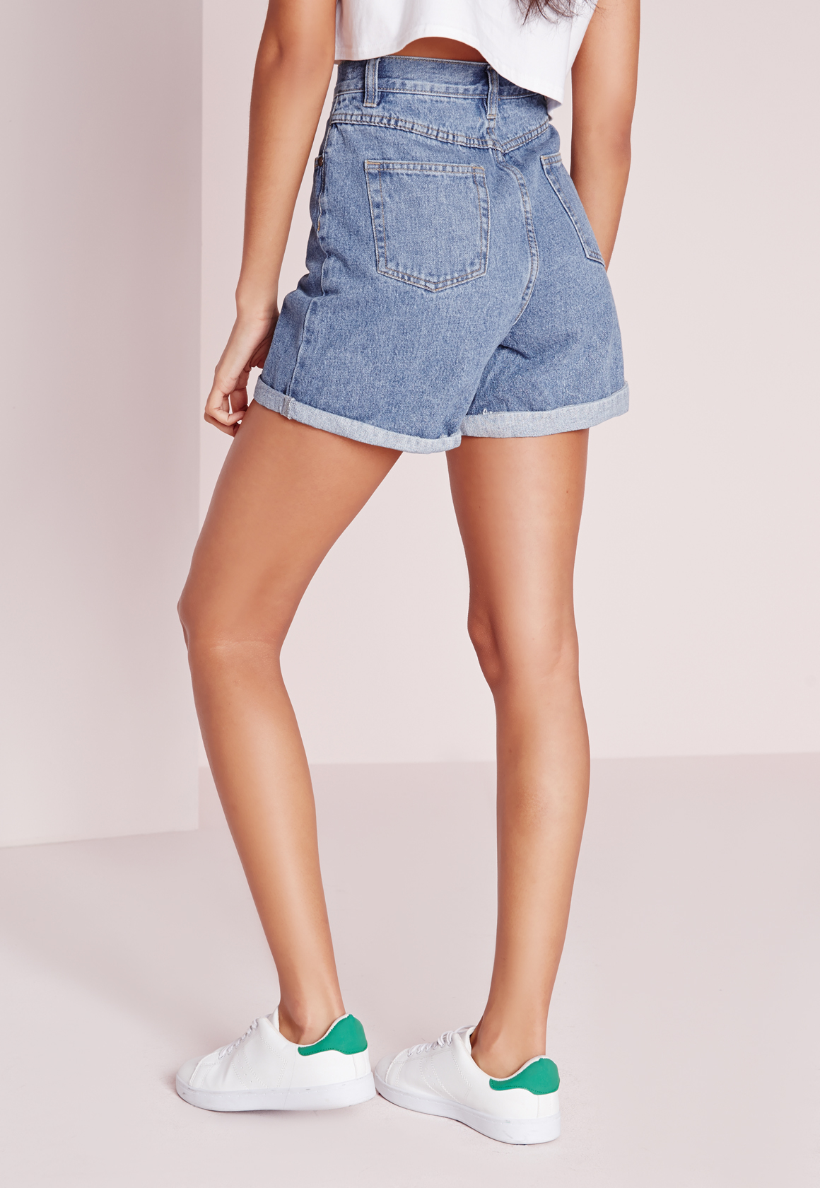 5937a57d13 Lyst - Missguided High Waisted Turn Up Hem Mom Denim Shorts Blue in Blue
