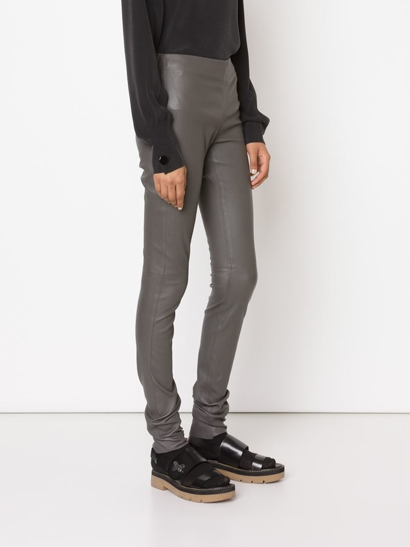 Joseph Leather Leggings in Gray | Lyst