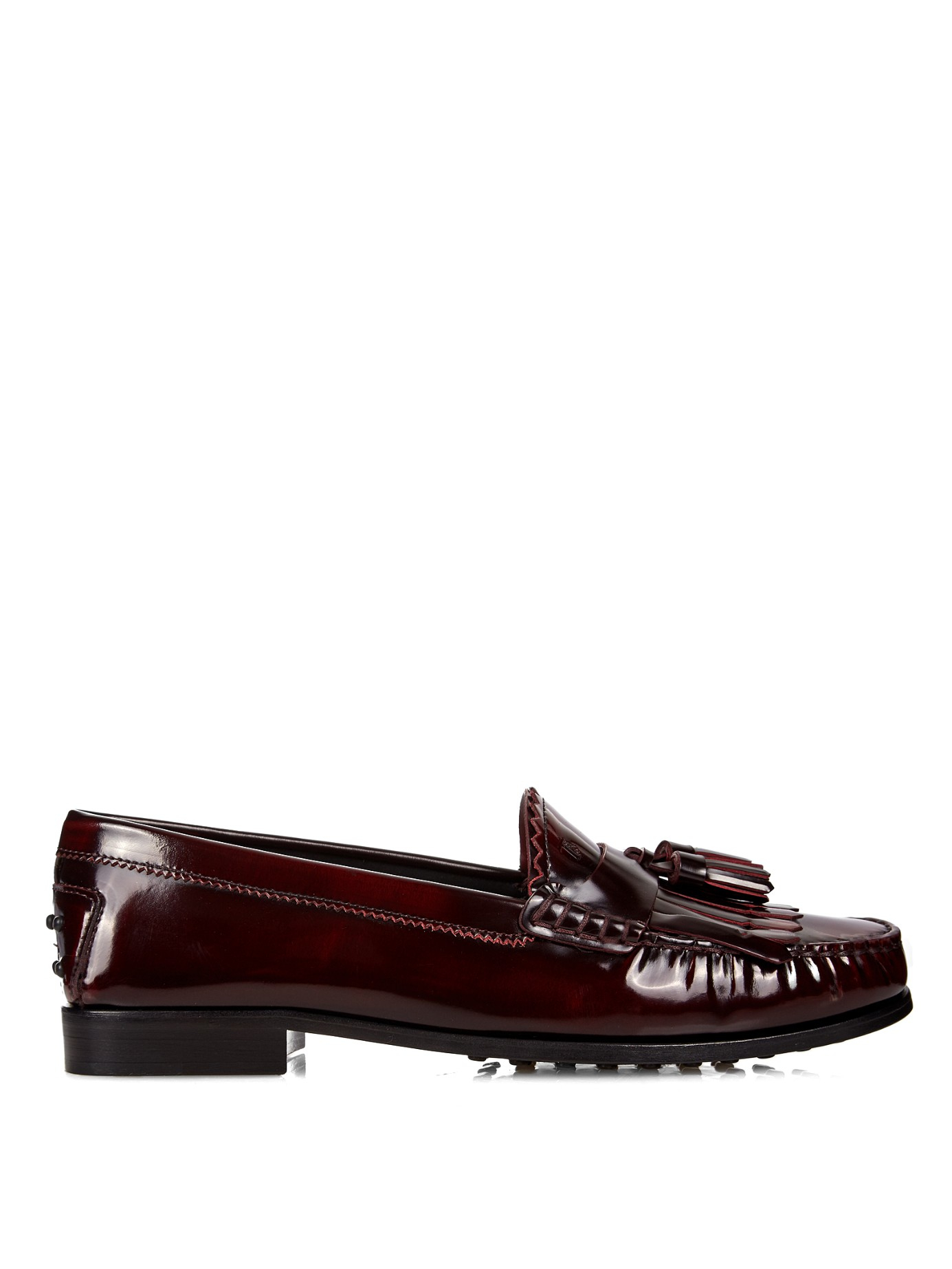 Lyst Tod S Cuoio Tassel Patent Leather Loafers In Brown