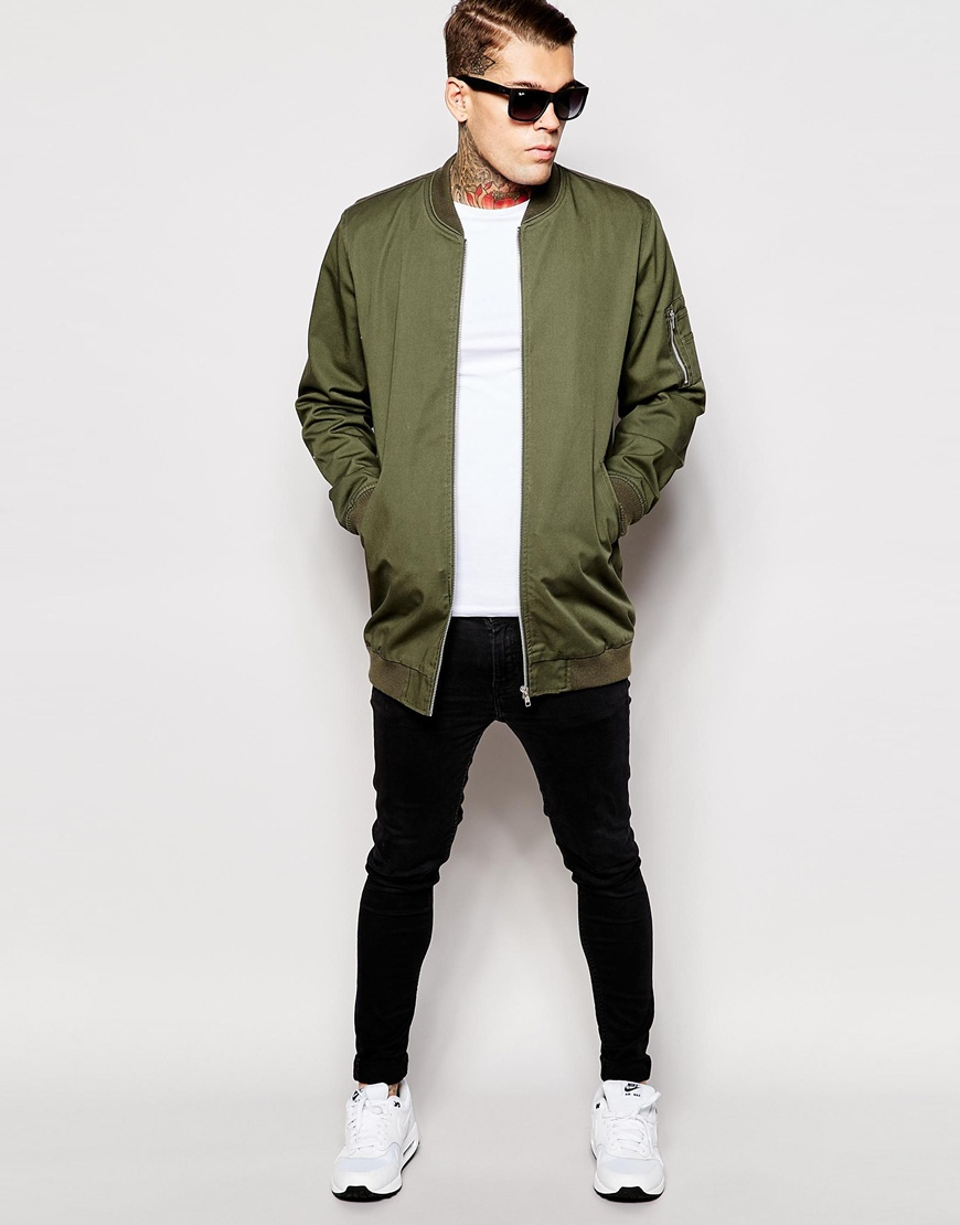 5caa7e9a161 Lyst - ASOS Bomber Jacket With Ma1 Pocket In Khaki in Green for Men