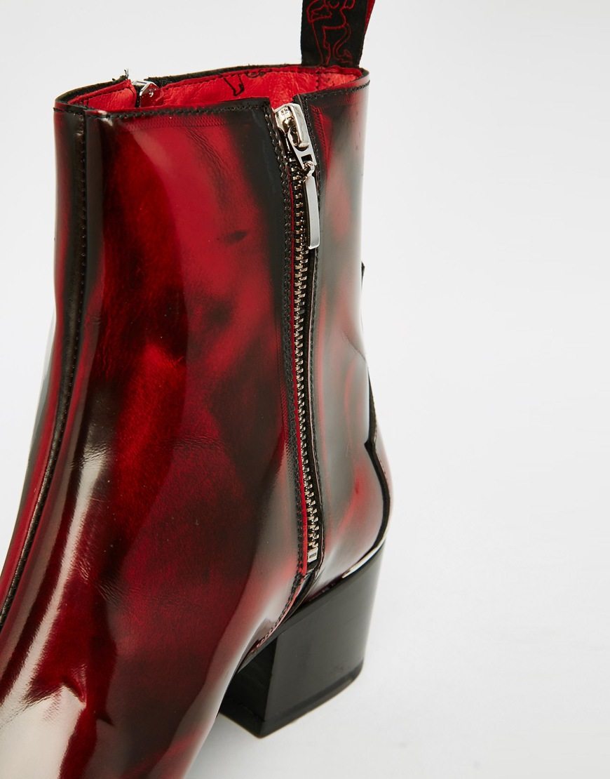 Jeffery West Zip Cuban Heel Boots In Red For Men Lyst