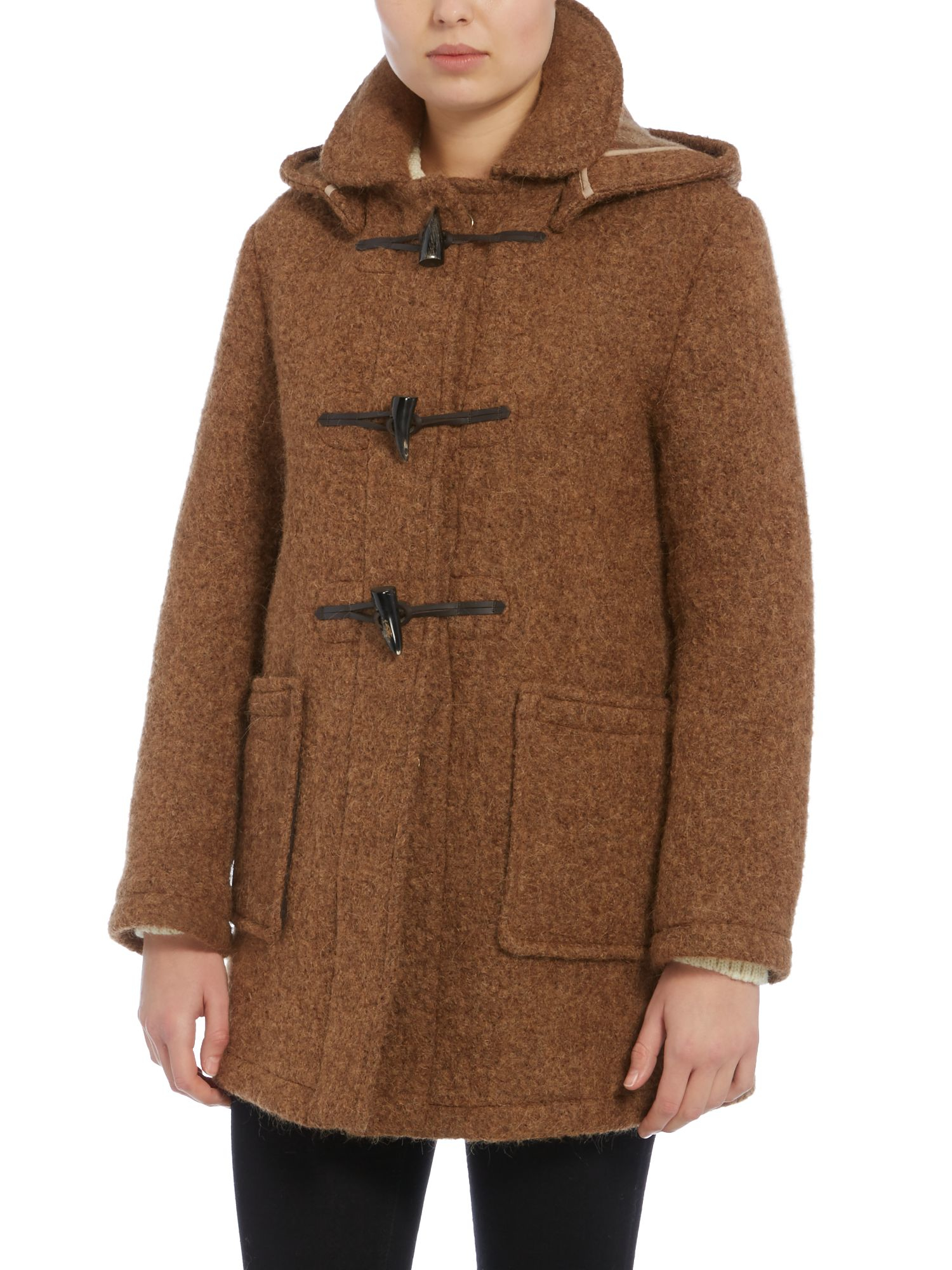 Gloverall Mid Duffle Coat in Brown | Lyst