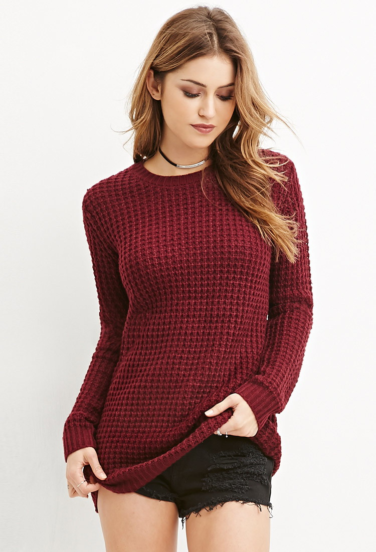 Lyst Forever 21 Loose Knit Longline Sweater In Purple