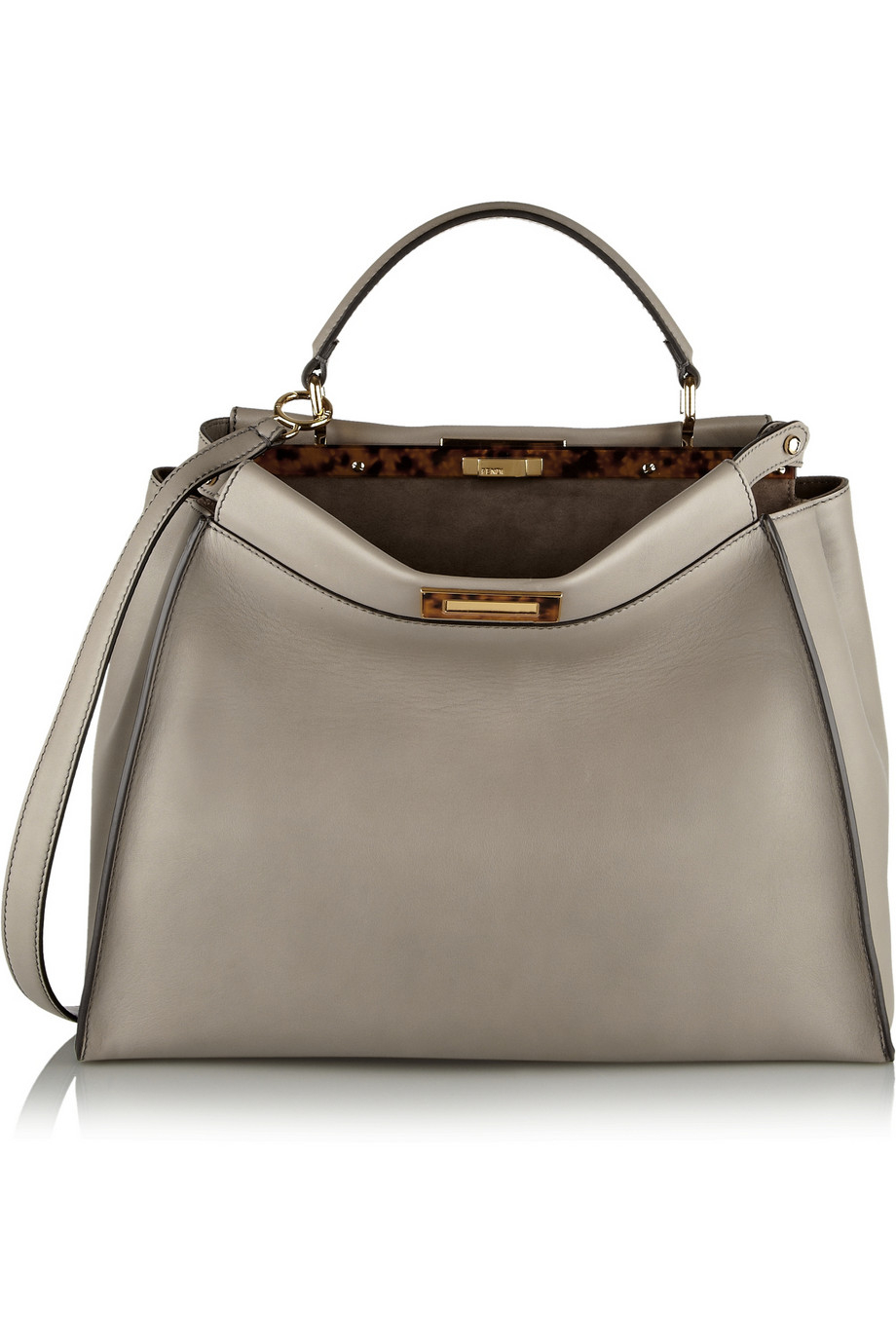 Fendi Peekaboo Medium Leather Tote In Gray Lyst