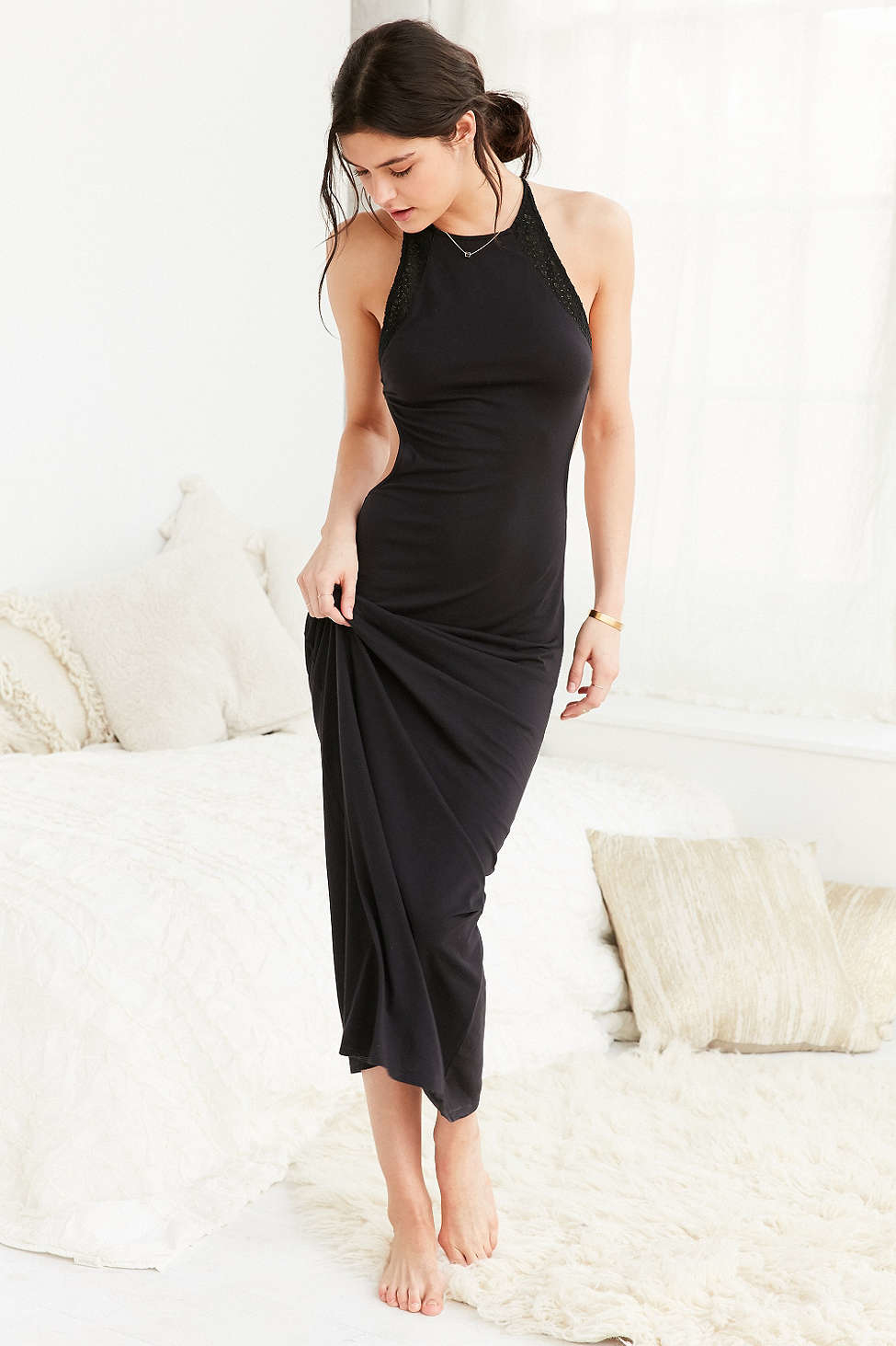Out From Under Mixed Maxi Slip In Black Lyst