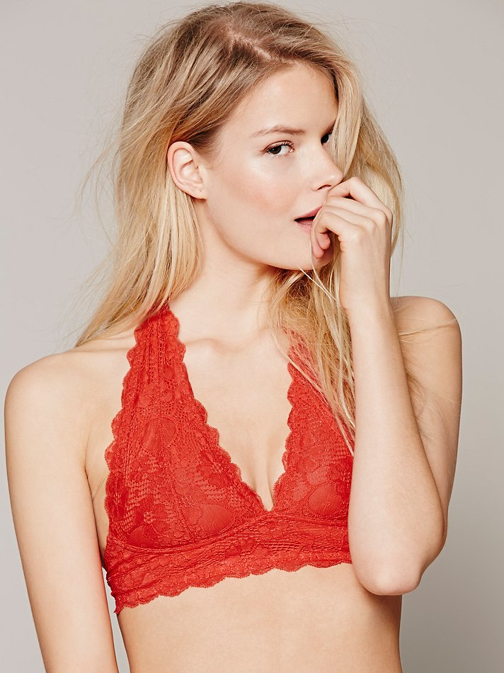 37477d9a913e5 Lyst - Free People Galloon Lace Halter Bra in Red