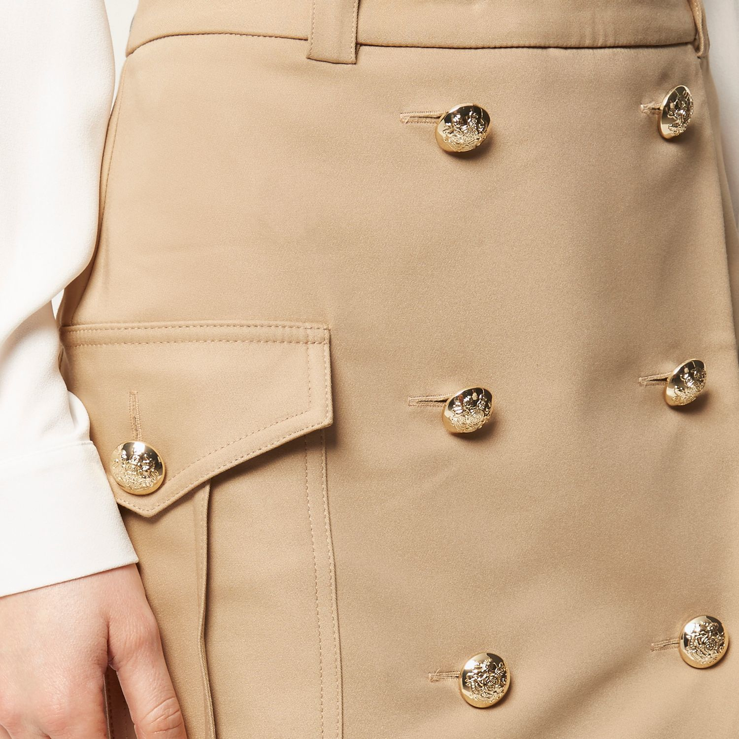 River island Camel Brown Military Button Pencil Skirt ...