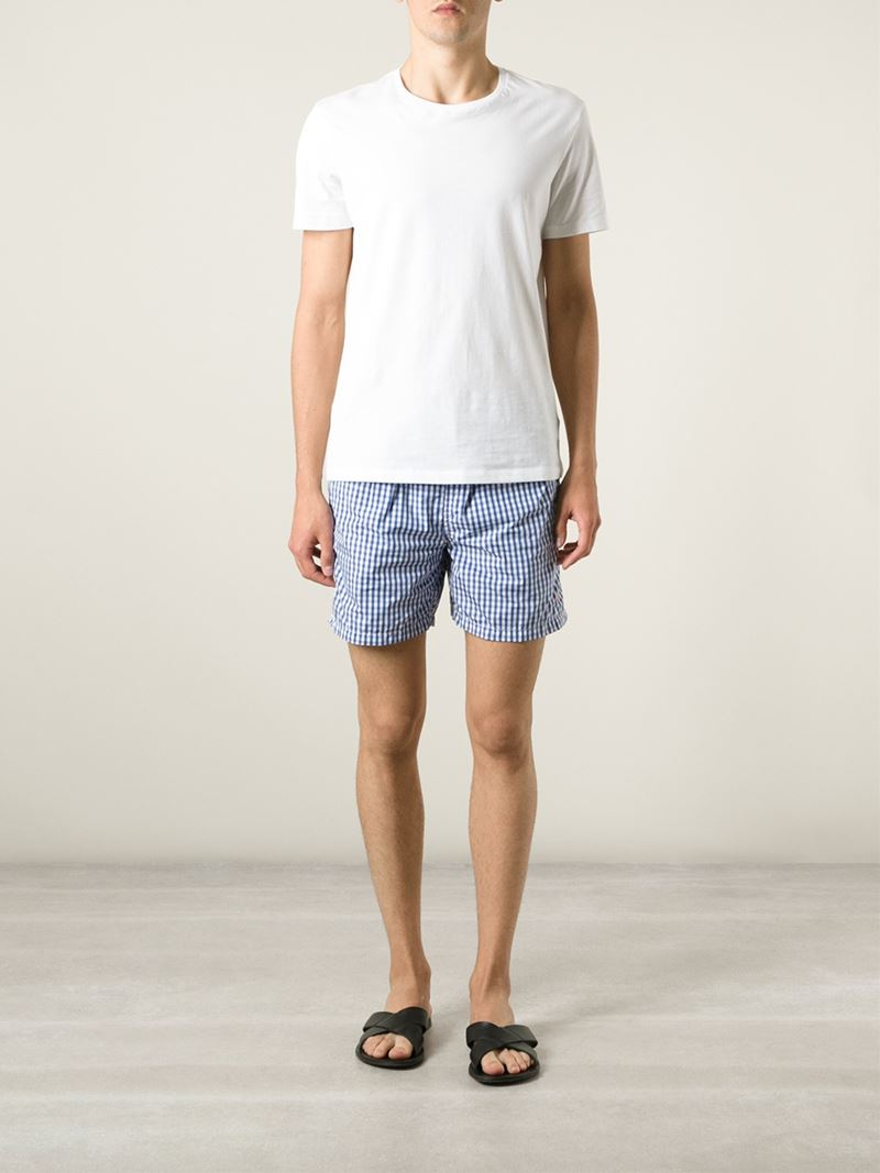 4317c71c87ae ... new zealand norway polo ralph lauren gingham check swim shorts in blue  for men lyst 9f028
