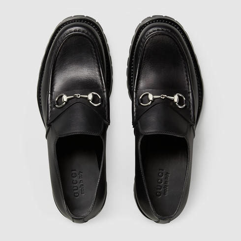 c5c90c2a182 Lyst - Gucci Men s Leather Lug Sole Horsebit Loafer in Black for Men