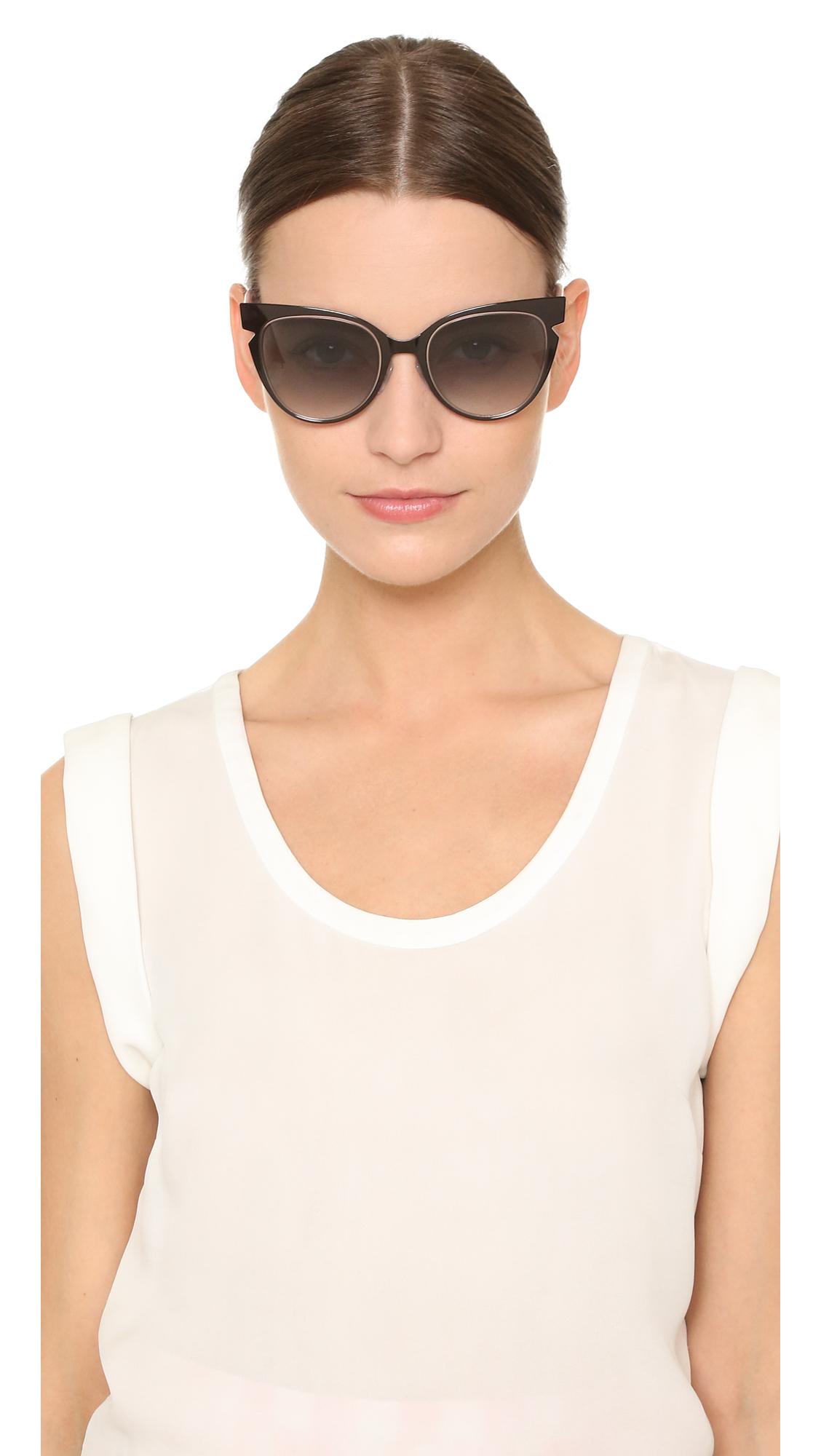 b86a5405e3868 Fendi Cutout Sunglasses in Black - Lyst
