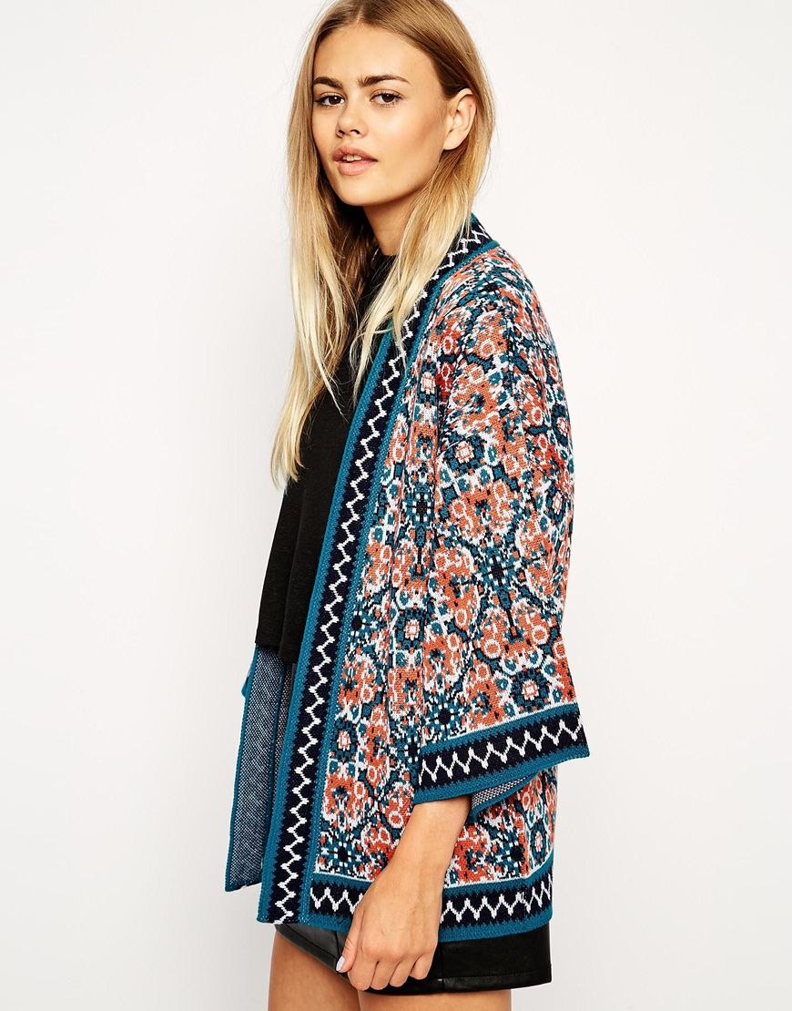 Asos Floral Cardigan With Kimono Sleeve | Lyst