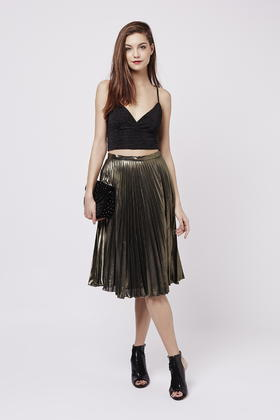 Topshop Petite Gold Pleat Midi Skirt in Metallic | Lyst