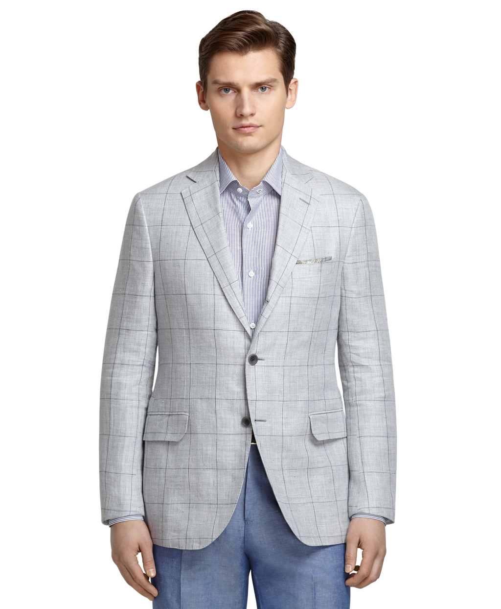 Lyst Brooks Brothers Grey Windowpane Sport Coat In Gray