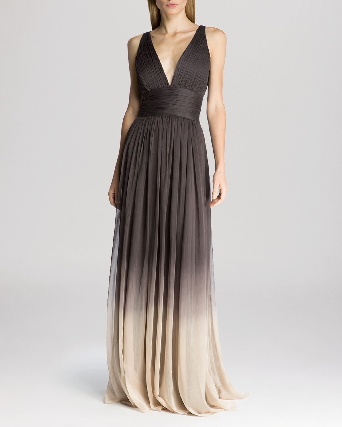 Lyst - Halston Gown - Sleeveless V-Neck Ombré in Gray