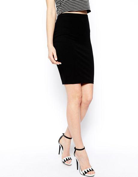 asos knee length pencil skirt in jersey in black lyst
