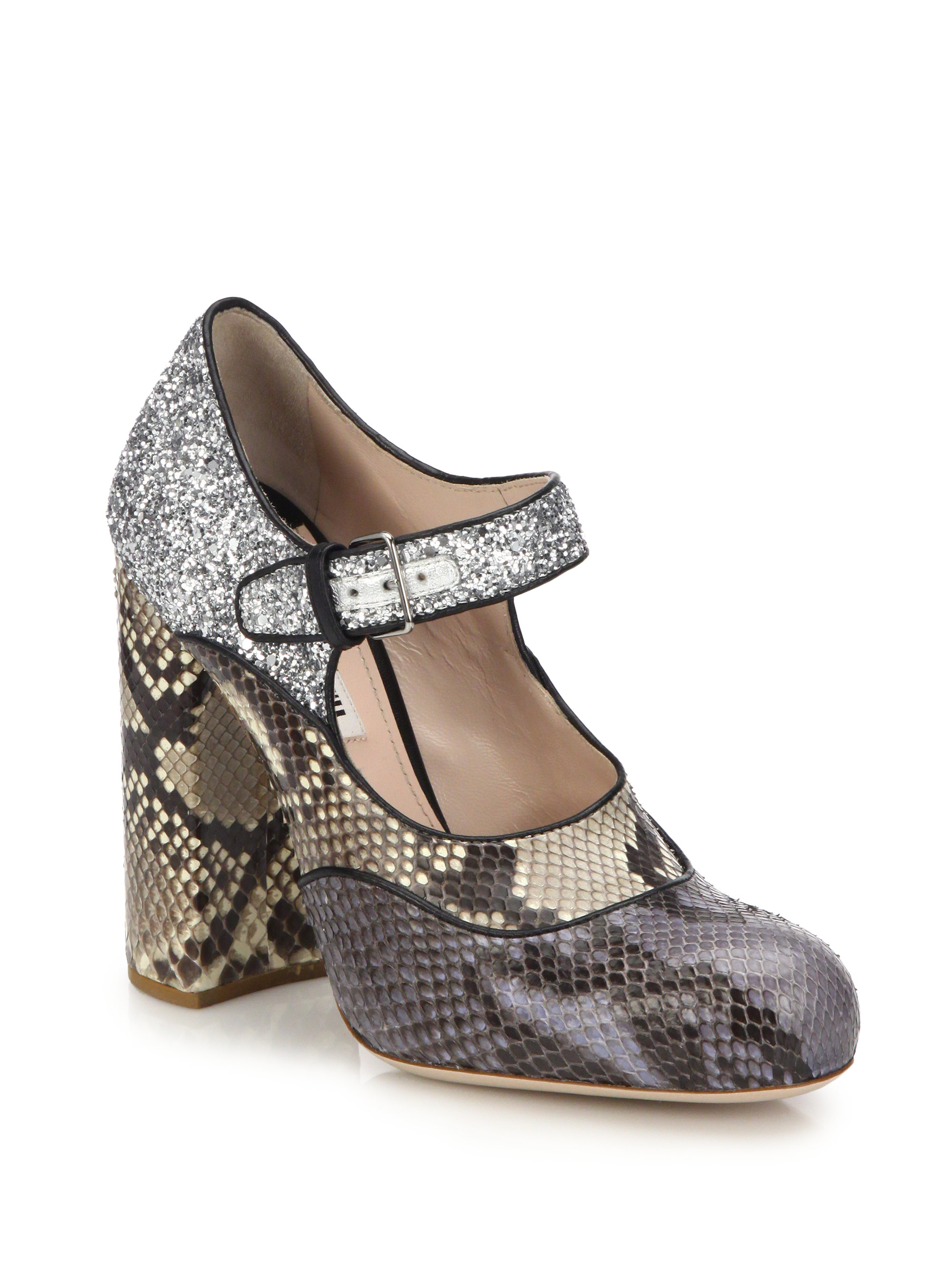 bb875d2e1c5 Lyst - Miu Miu Python   Glitter Mary Jane Pumps in Natural