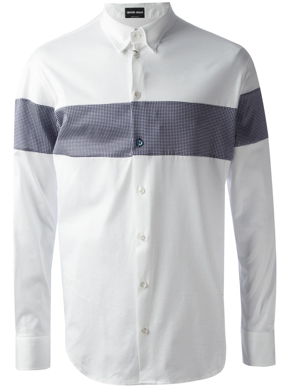 Lyst Giorgio Armani Classic Shirt In White For Men