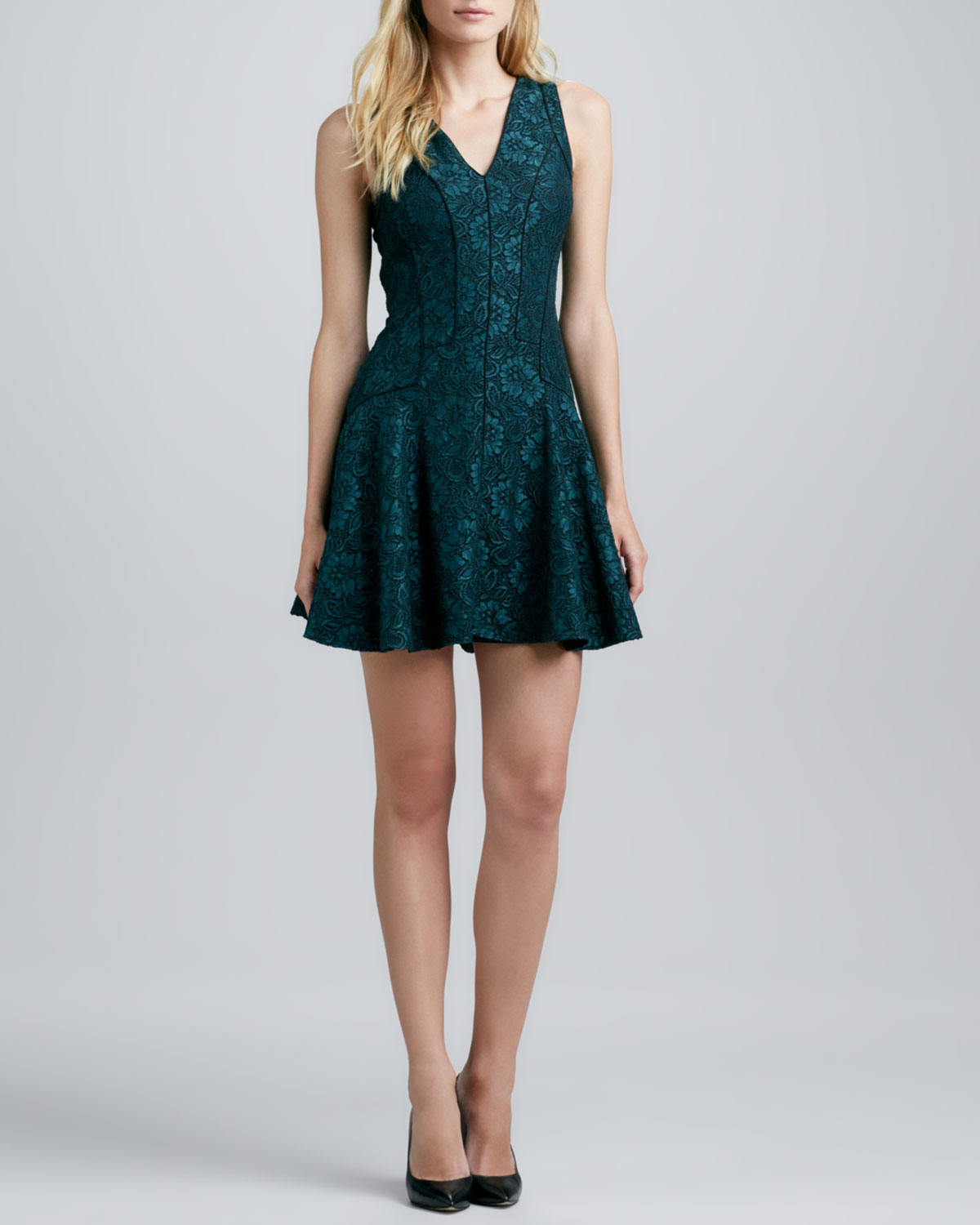 Ali Ro Sleeveless Lace Fit And Flare Dress In Green Lyst