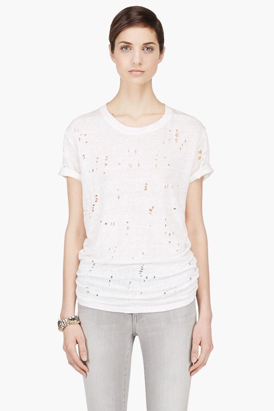 Lyst Iro Off White Linen Shredded Clay T Shirt In White