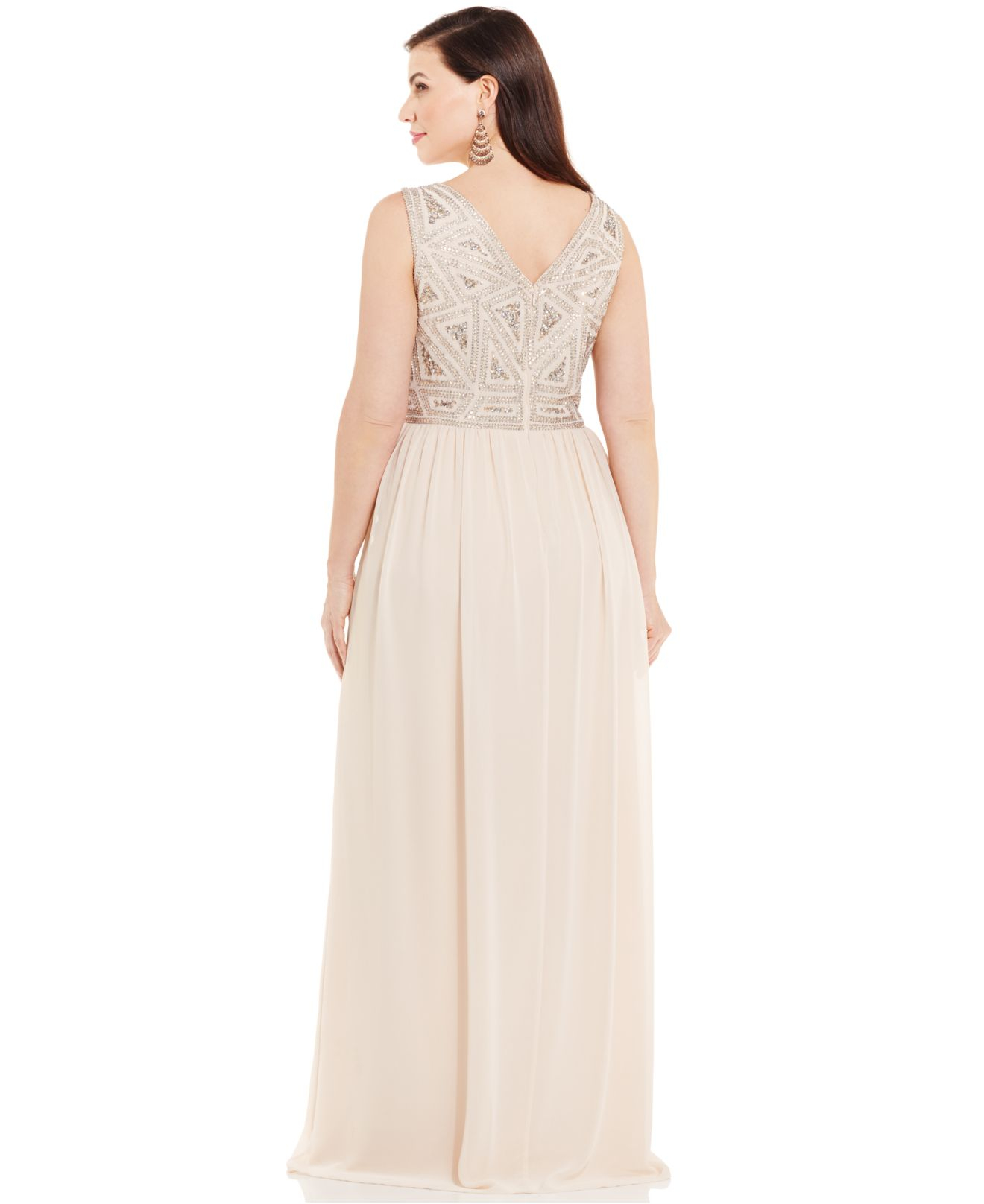 0c20e384d49 Adrianna Papell Plus Size Embellished Gown in Pink - Lyst