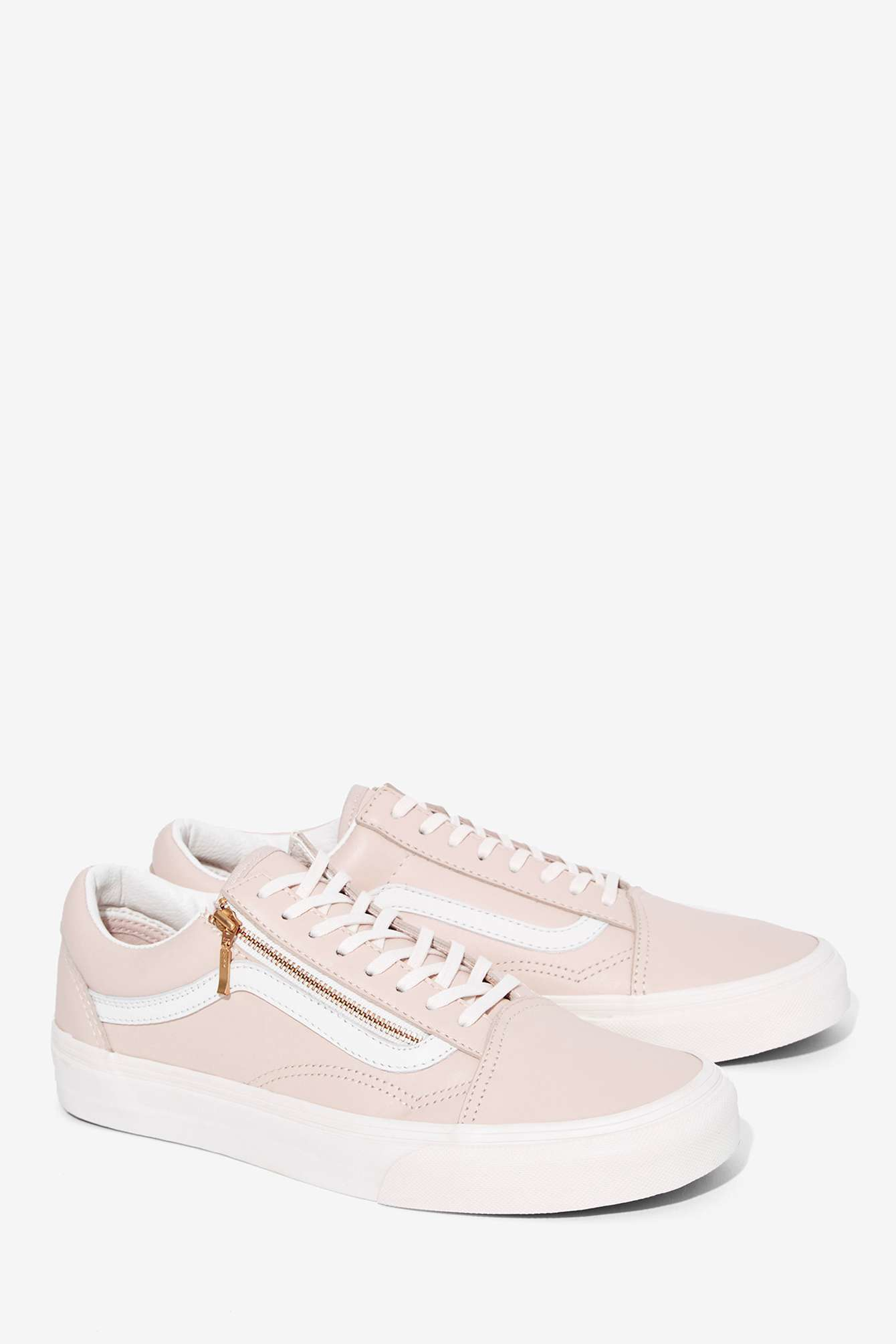 f0fe9e682e64 Lyst - Vans Old Skool Zip Leather Sneaker in Pink
