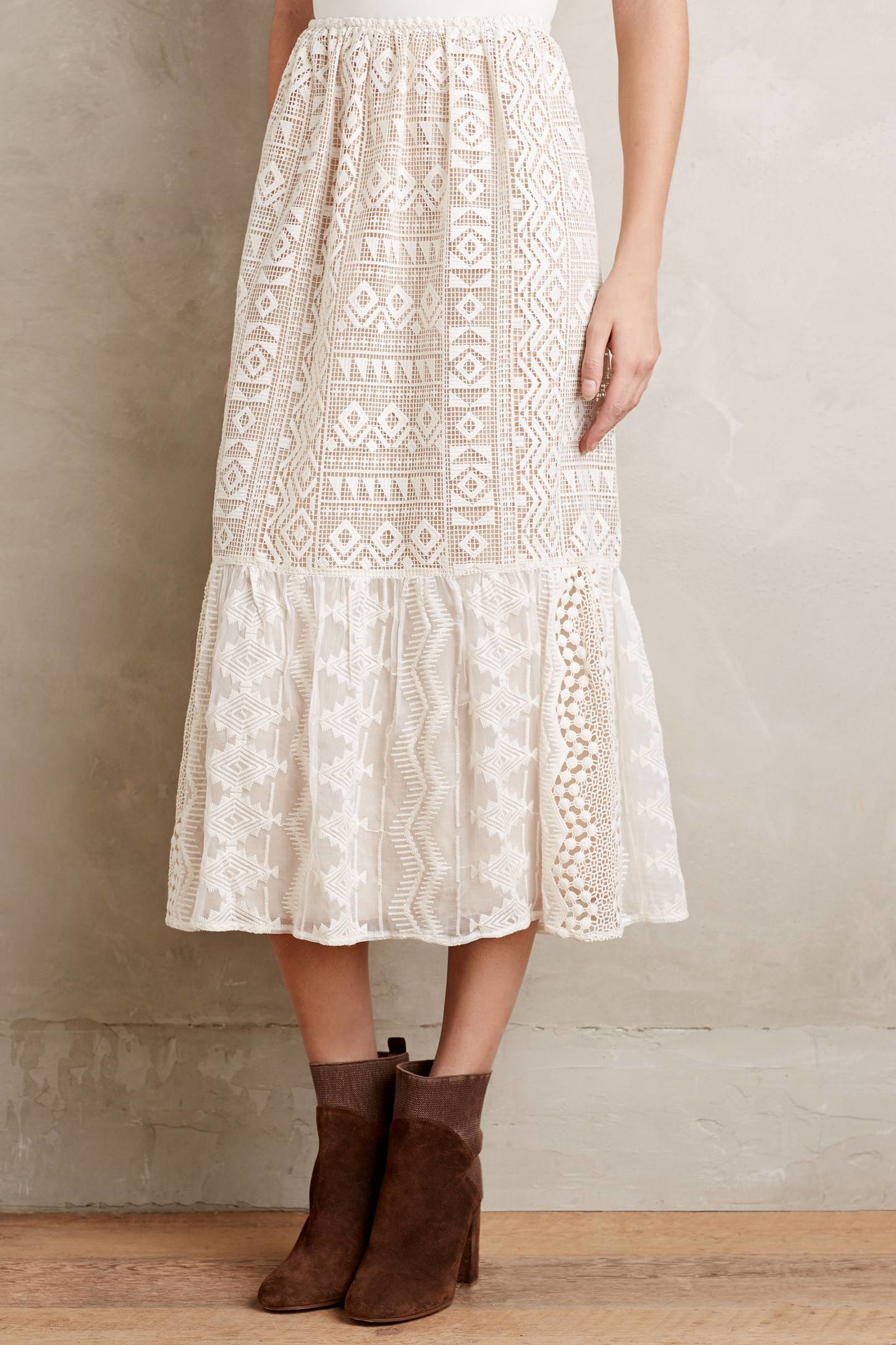 Anna sui Snowlace Midi Skirt in White | Lyst