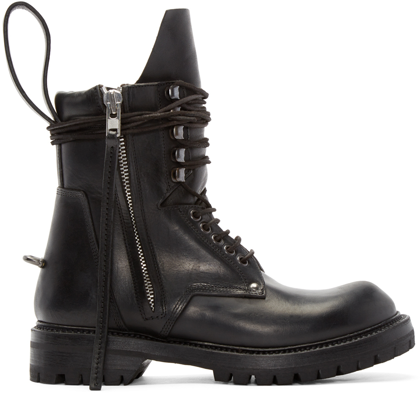rick owens black leather army boots in black for lyst