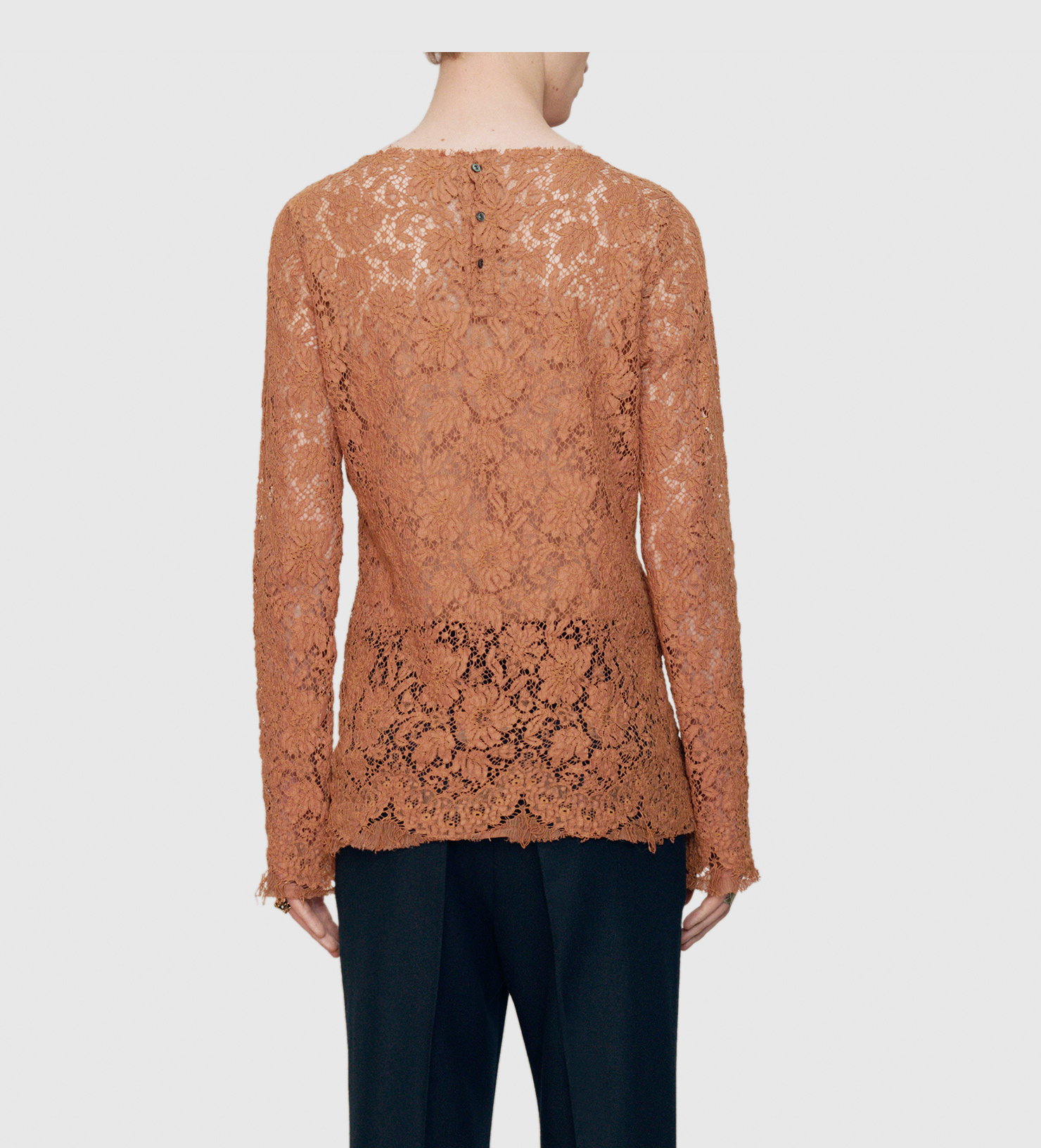 lyst gucci cotton lace shirt in brown for men