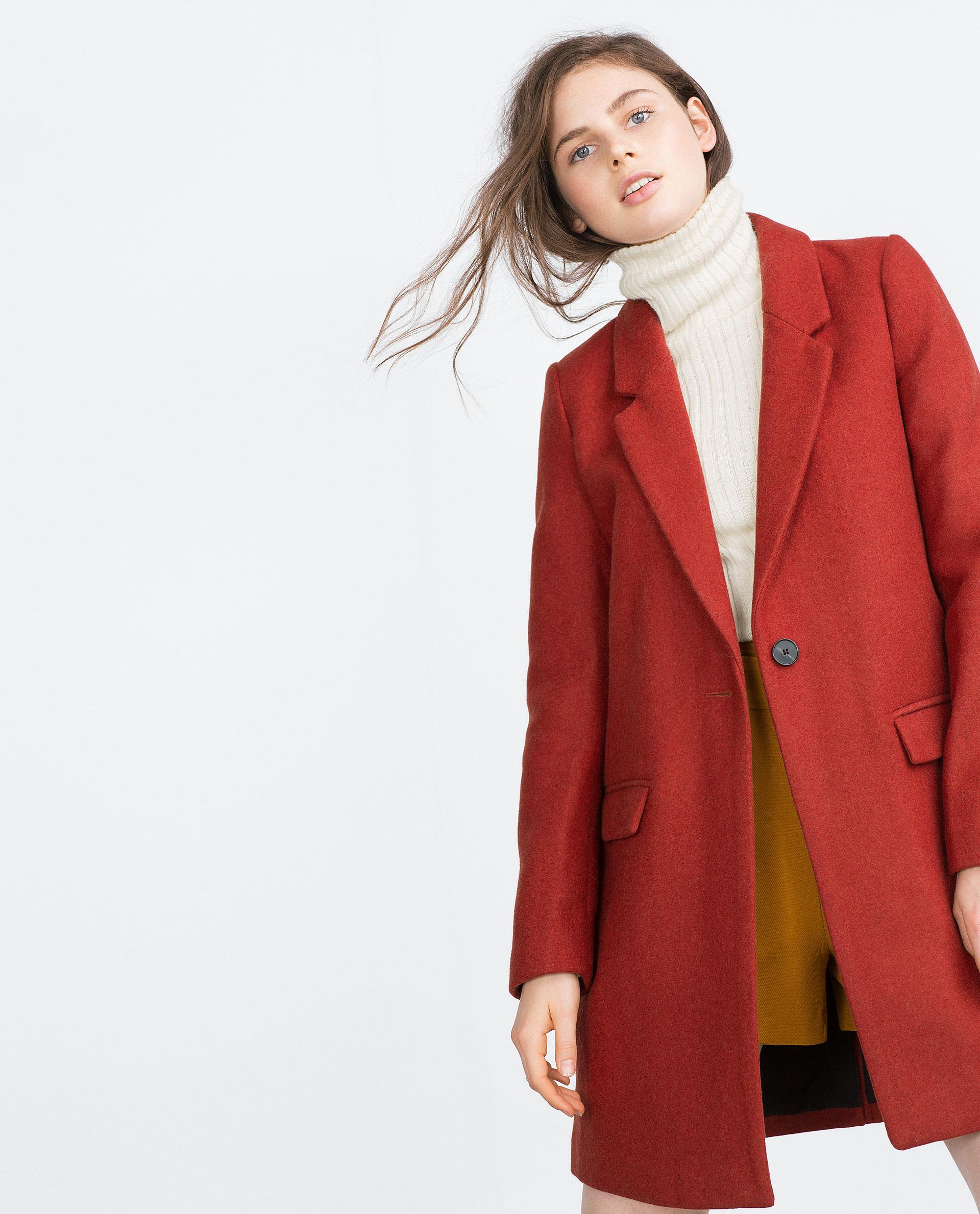 Zara Masculine Coat In Red Terracotta Lyst