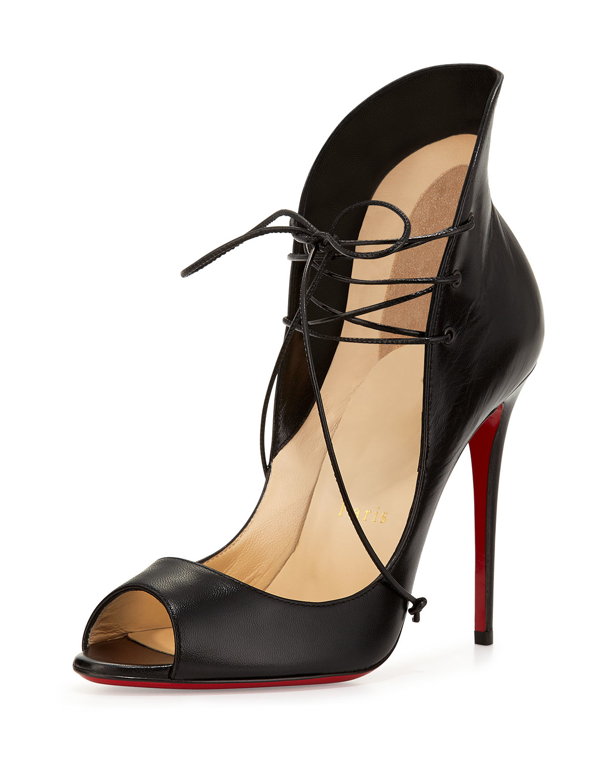 Christian Louboutin Mega Vamp Lace Up Red Sole Pump In