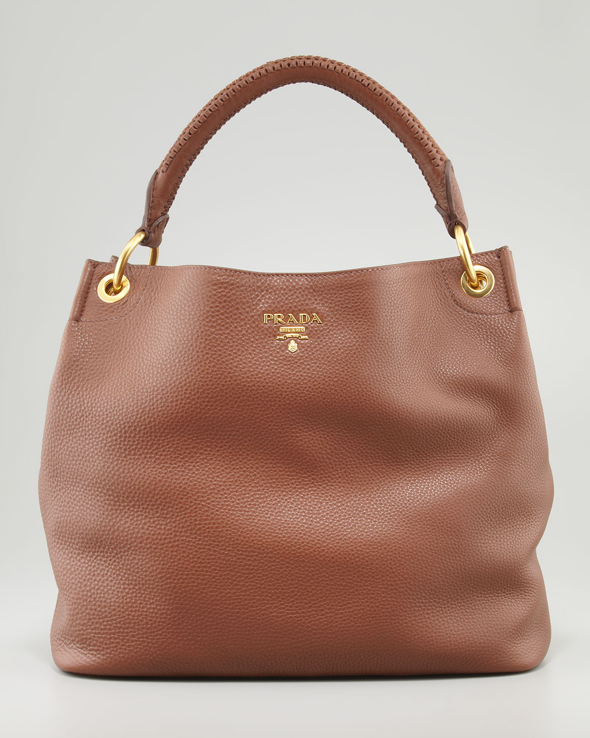 b3fa654d6f3661 ... low price prada daino woven handle hobo bag in brown lyst a56b0 af755  where can i buy prada vitello ...