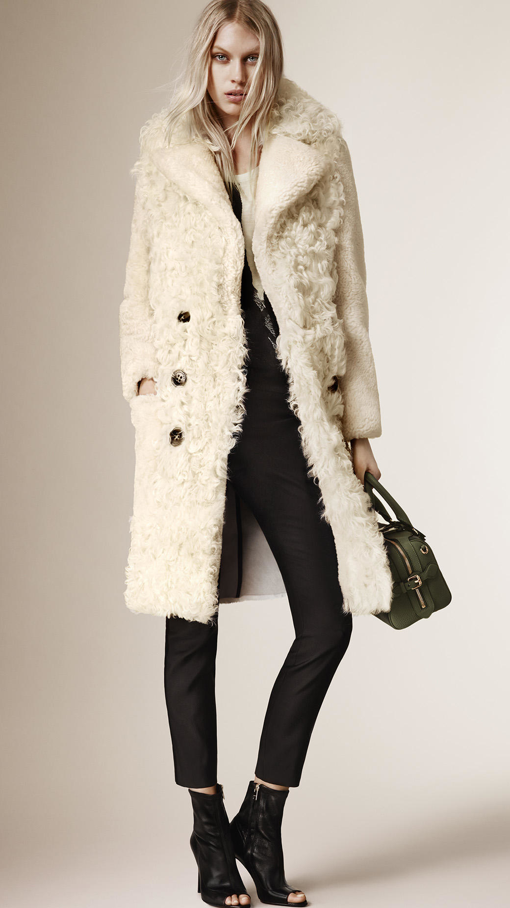 Burberry Fitted Contrast Shearling Coat in White | Lyst